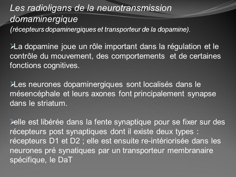 Les radioligans de la neurotransmission domaminergique ( récepteurs dopaminergiques et transporteur de la dopamine). La dopamine joue un rôle importan