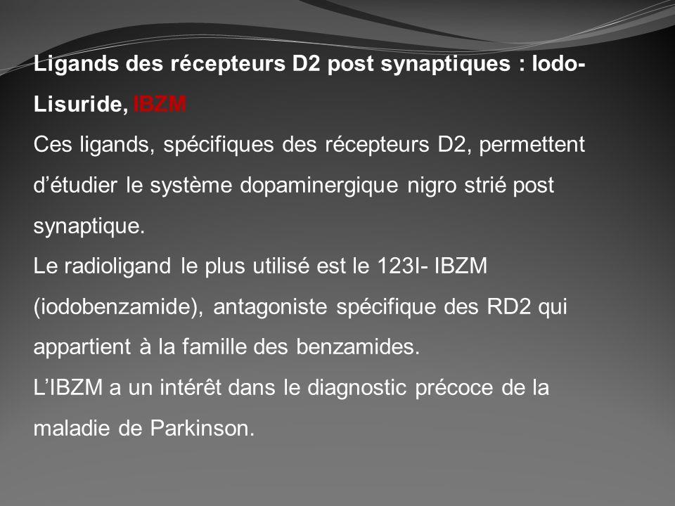 Ligands des récepteurs D2 post synaptiques : Iodo- Lisuride, IBZM Ces ligands, spécifiques des récepteurs D2, permettent détudier le système dopaminer