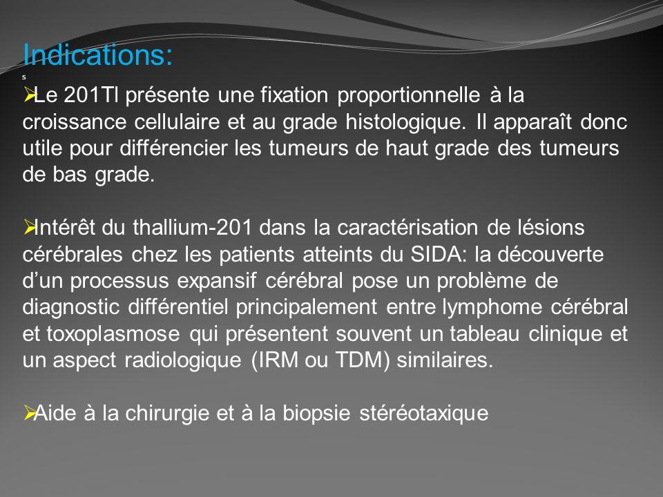 Indications: s Le 201Tl présente une fixation proportionnelle à la croissance cellulaire et au grade histologique. Il apparaît donc utile pour différe