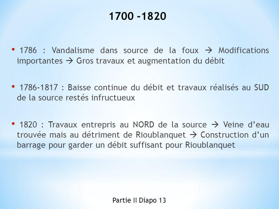 1786 : Vandalisme dans source de la foux Modifications importantes Gros travaux et augmentation du débit 1786-1817 : Baisse continue du débit et trava