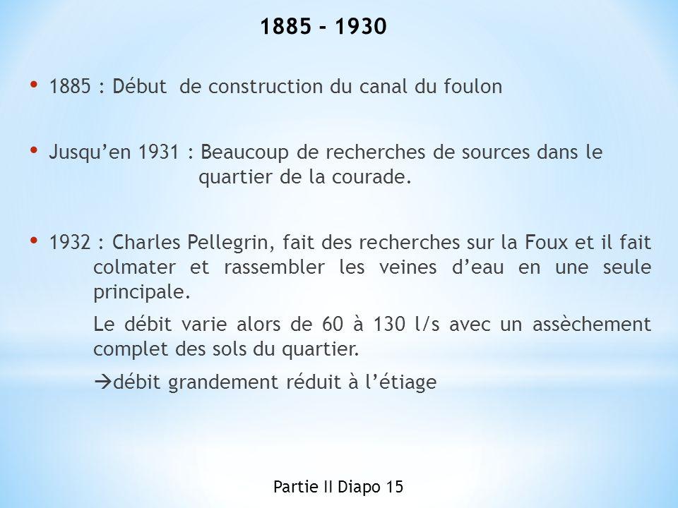 1885 : Début de construction du canal du foulon Jusquen 1931 : Beaucoup de recherches de sources dans le quartier de la courade. 1932 : Charles Pelleg
