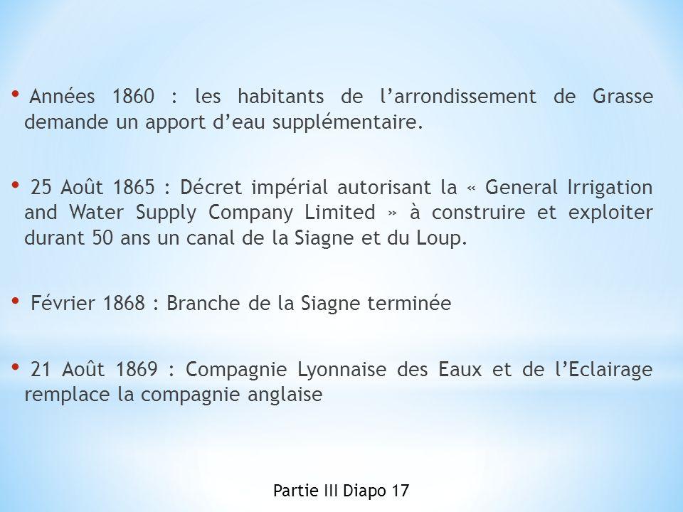 Années 1860 : les habitants de larrondissement de Grasse demande un apport deau supplémentaire. 25 Août 1865 : Décret impérial autorisant la « General