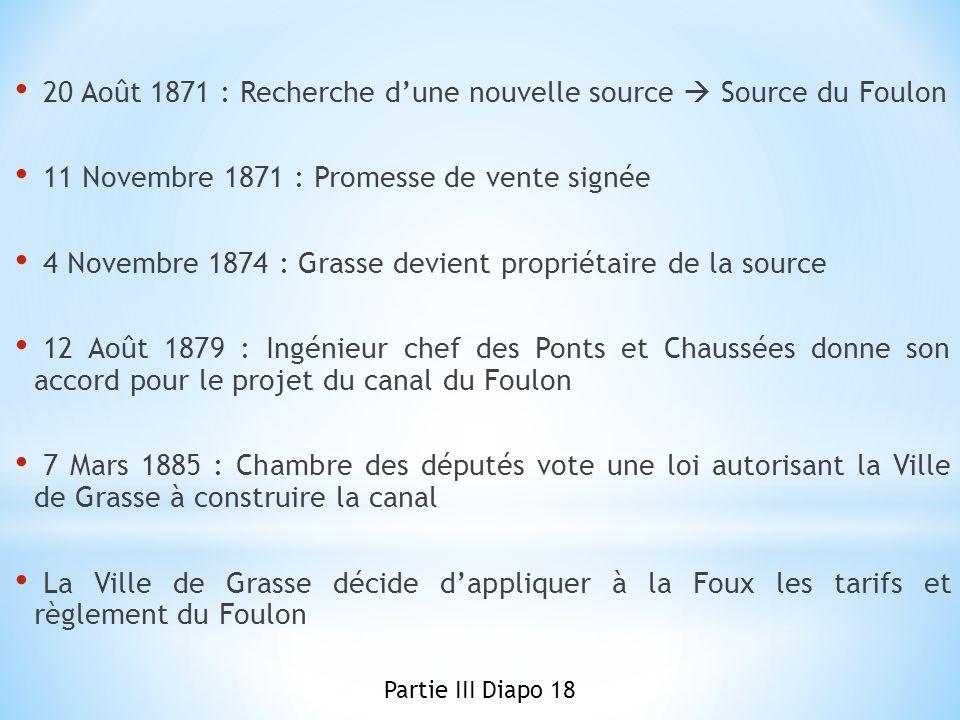 20 Août 1871 : Recherche dune nouvelle source Source du Foulon 11 Novembre 1871 : Promesse de vente signée 4 Novembre 1874 : Grasse devient propriétai