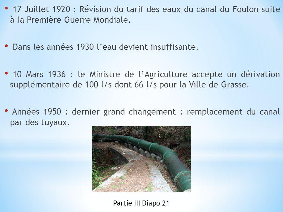 17 Juillet 1920 : Révision du tarif des eaux du canal du Foulon suite à la Première Guerre Mondiale. Dans les années 1930 leau devient insuffisante. 1