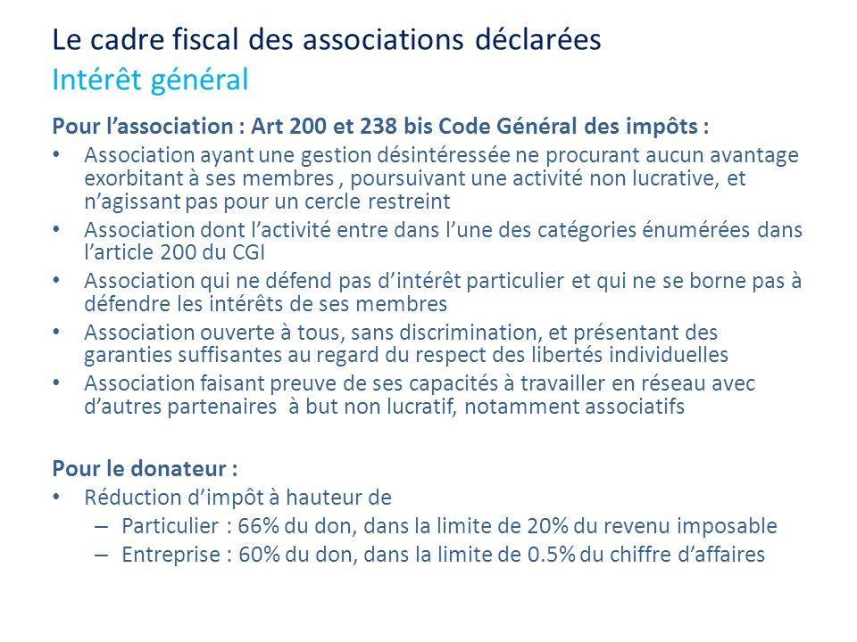 Le cadre fiscal des associations déclarées Intérêt général Pour lassociation : Art 200 et 238 bis Code Général des impôts : Association ayant une gest