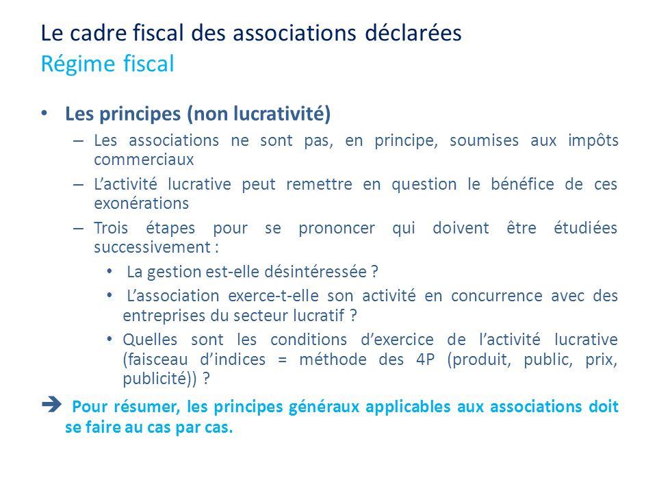 Le cadre fiscal des associations déclarées Régime fiscal Les principes (non lucrativité) – Les associations ne sont pas, en principe, soumises aux imp