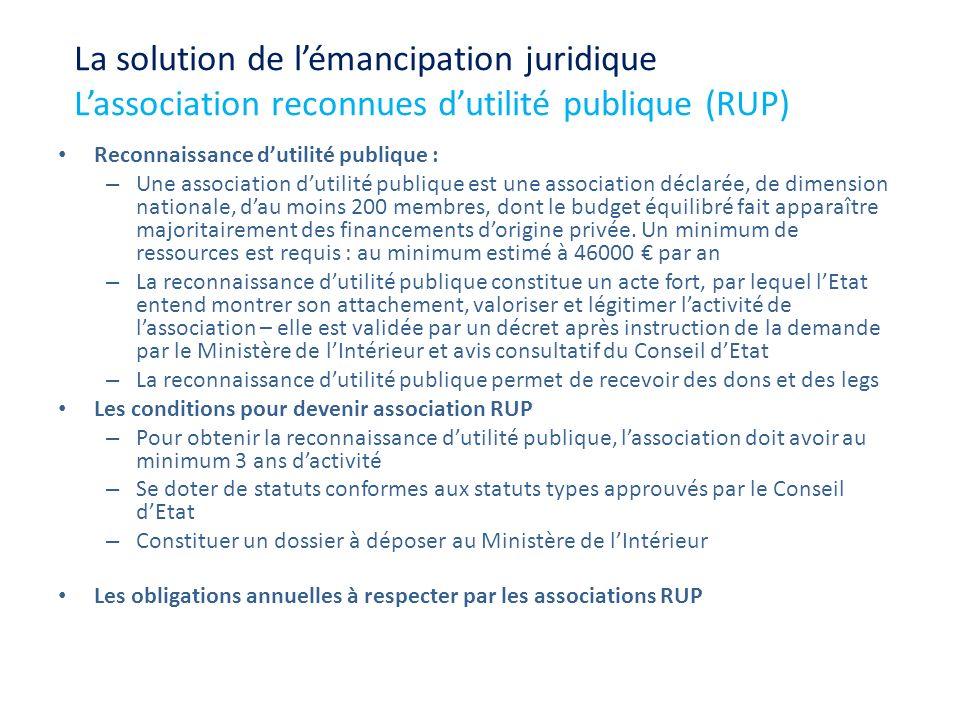 Reconnaissance dutilité publique : – Une association dutilité publique est une association déclarée, de dimension nationale, dau moins 200 membres, do