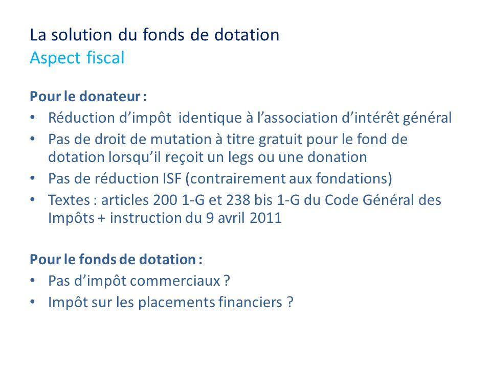 La solution du fonds de dotation Aspect fiscal Pour le donateur : Réduction dimpôt identique à lassociation dintérêt général Pas de droit de mutation