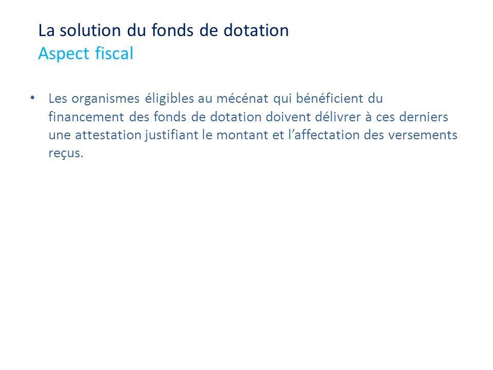 Les organismes éligibles au mécénat qui bénéficient du financement des fonds de dotation doivent délivrer à ces derniers une attestation justifiant le
