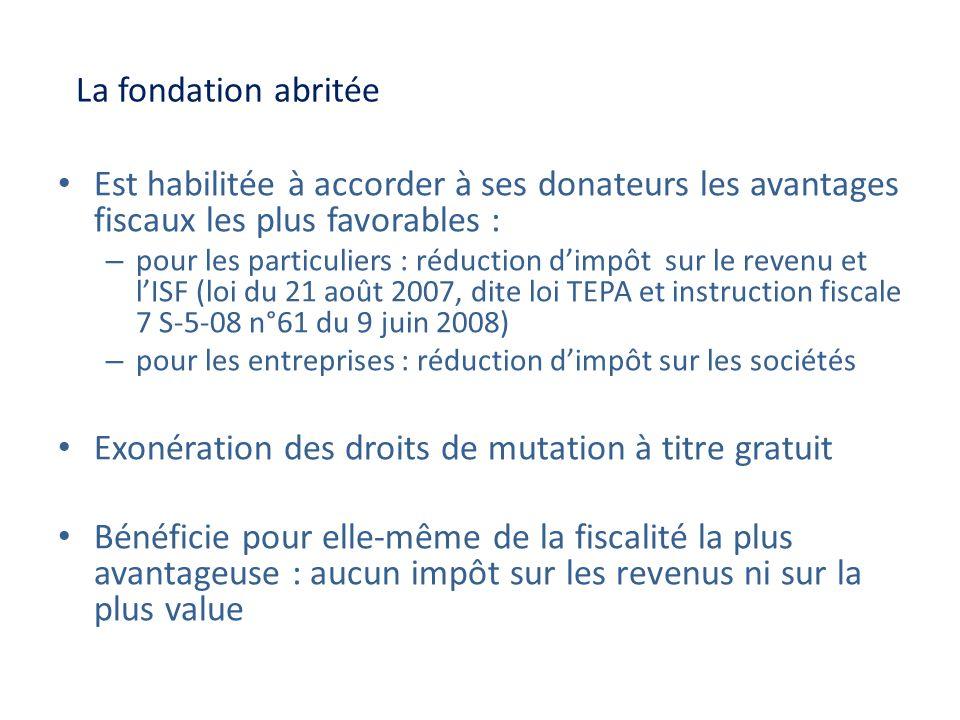 La fondation abritée Est habilitée à accorder à ses donateurs les avantages fiscaux les plus favorables : – pour les particuliers : réduction dimpôt s