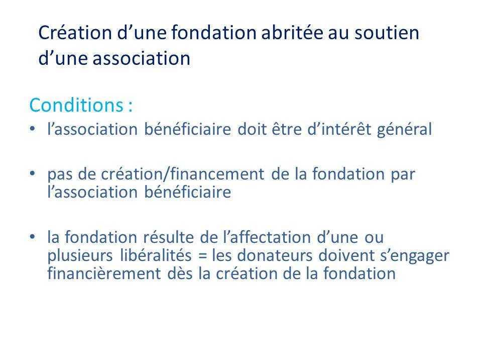 Création dune fondation abritée au soutien dune association Conditions : lassociation bénéficiaire doit être dintérêt général pas de création/financem