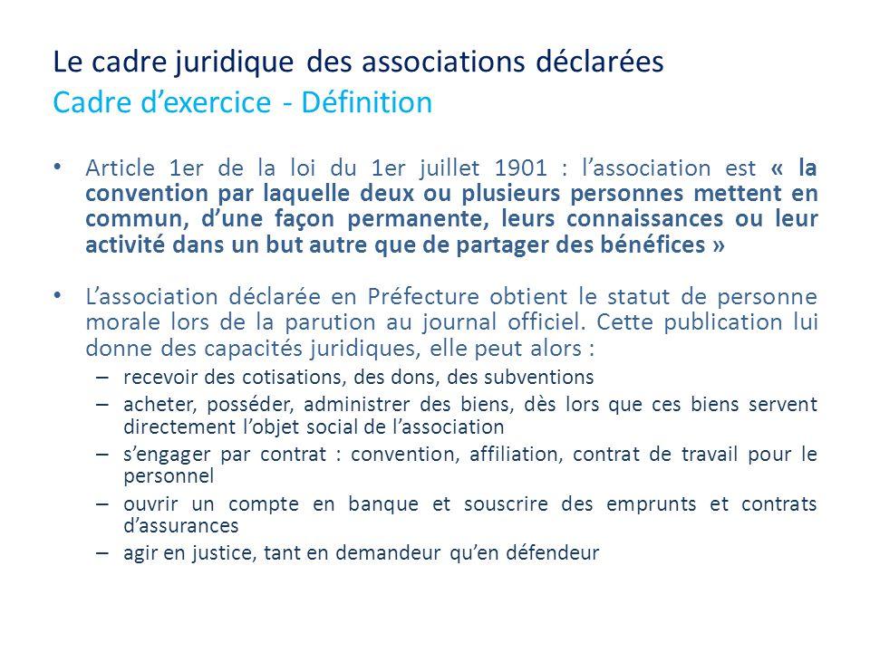 Le cadre juridique des associations déclarées Cadre dexercice - Définition Article 1er de la loi du 1er juillet 1901 : lassociation est « la conventio