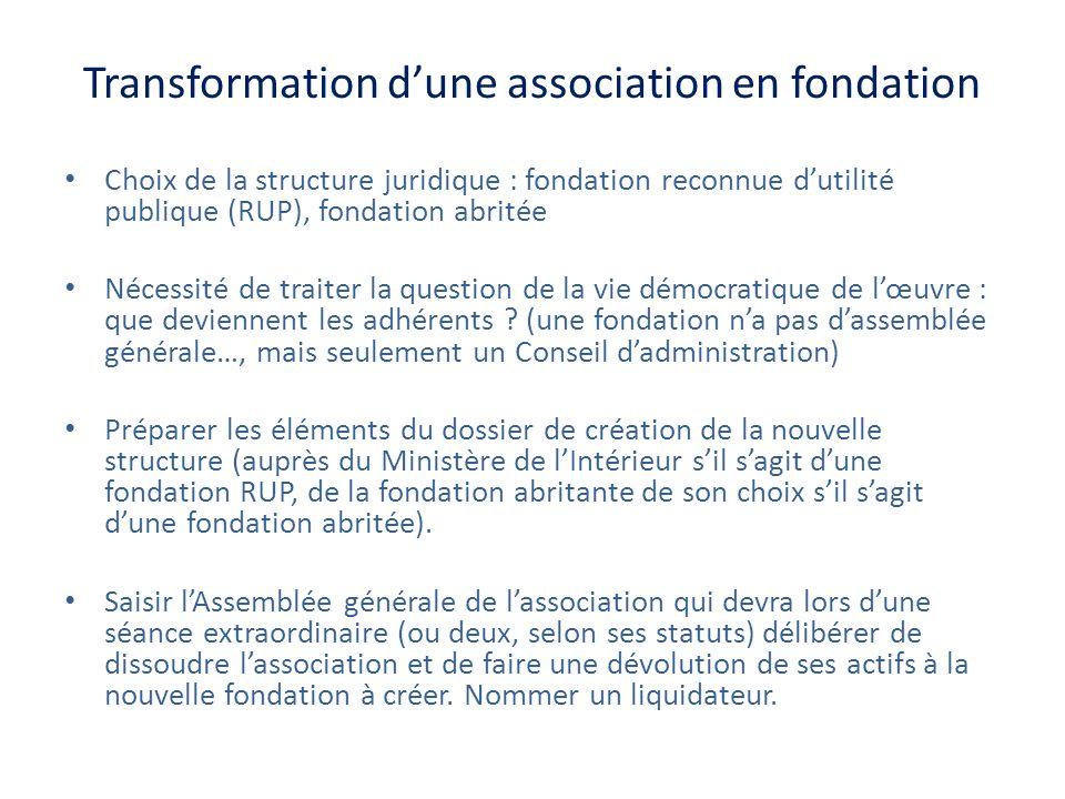 Choix de la structure juridique : fondation reconnue dutilité publique (RUP), fondation abritée Nécessité de traiter la question de la vie démocratiqu