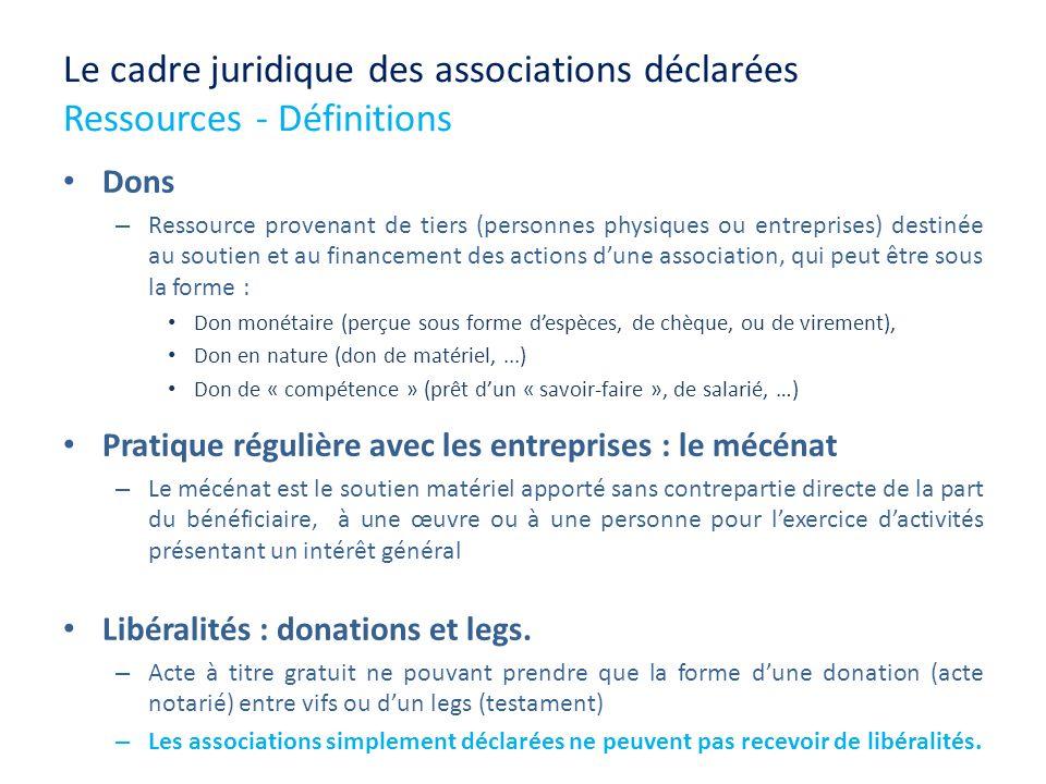 Le cadre juridique des associations déclarées Ressources - Définitions Dons – Ressource provenant de tiers (personnes physiques ou entreprises) destin