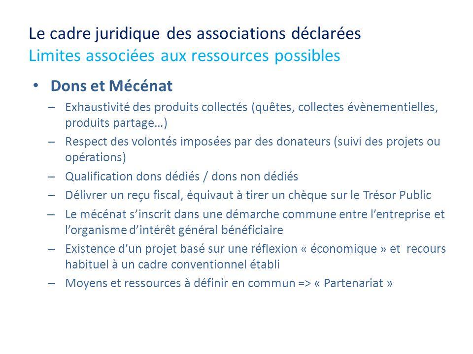 Le cadre juridique des associations déclarées Limites associées aux ressources possibles Dons et Mécénat Exhaustivité des produits collectés (quêtes,