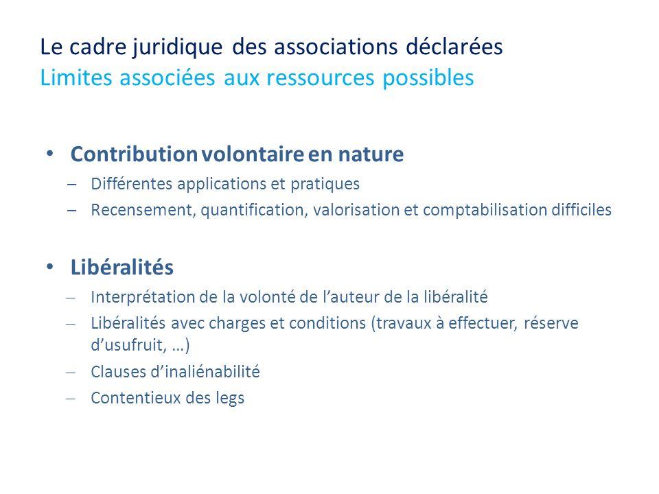 Le cadre juridique des associations déclarées Limites associées aux ressources possibles Contribution volontaire en nature Différentes applications et