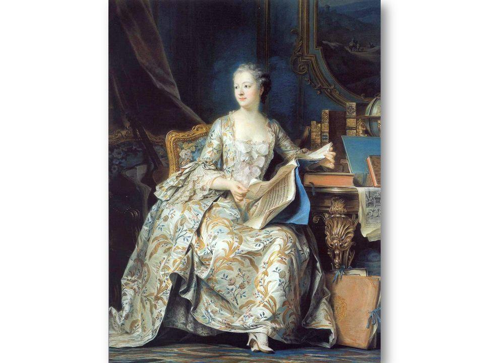 Le cabinet dans lequel elle est assise est décoré de boiseries peintes dans un ton vert bleu et soulignées d or.