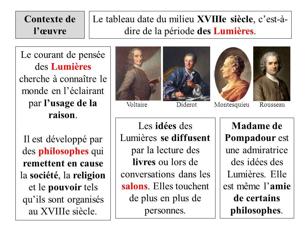 Contexte de lœuvre Le tableau date du milieu XVIIIe siècle, cest-à- dire de la période des Lumières. Le courant de pensée des Lumières cherche à conna