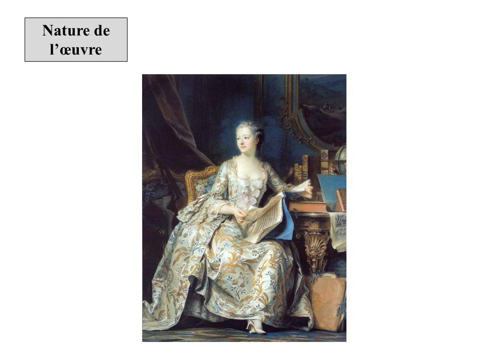Le tableau, conservé au musée du Louvre, est un portrait au pastel de la marquise de Pompadour.