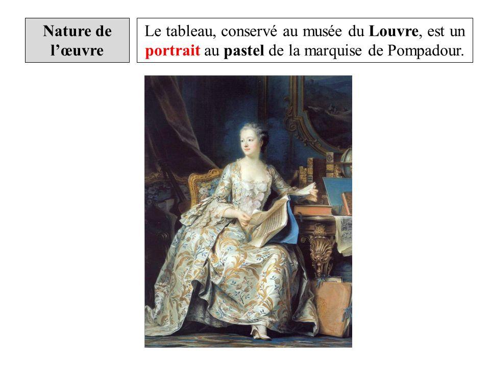 Madame de Pompadour porte une somptueuse robe à la française, dun tissu imprimé clair agrémenté de dentelles et rubans.