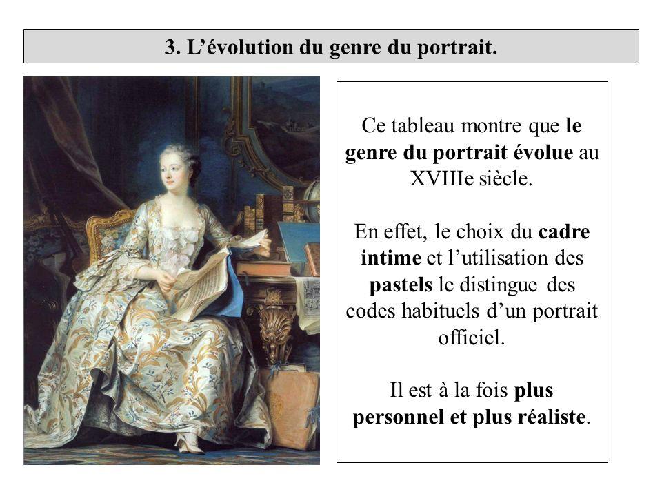 Ce tableau montre que le genre du portrait évolue au XVIIIe siècle. En effet, le choix du cadre intime et lutilisation des pastels le distingue des co