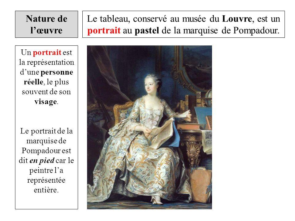 Le tableau, conservé au musée du Louvre, est un portrait au pastel de la marquise de Pompadour. Un portrait est la représentation dune personne réelle