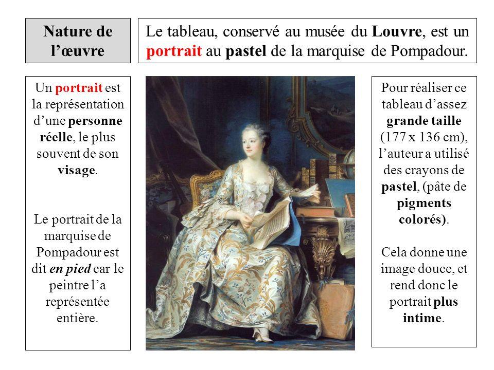 Le tableau, conservé au musée du Louvre, est un portrait au pastel de la marquise de Pompadour. Pour réaliser ce tableau dassez grande taille (177 x 1