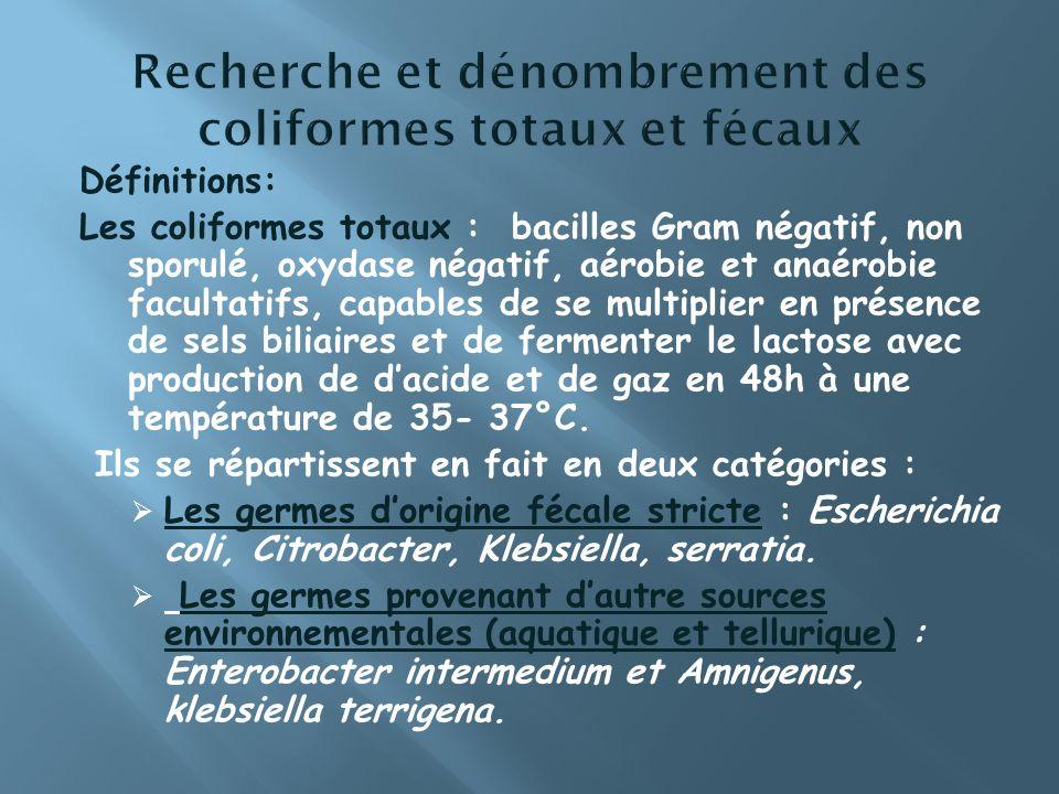 Définitions: Les coliformes totaux : bacilles Gram négatif, non sporulé, oxydase négatif, aérobie et anaérobie facultatifs, capables de se multiplier