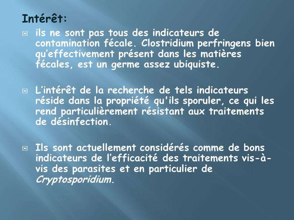 Intérêt: ils ne sont pas tous des indicateurs de contamination fécale. Clostridium perfringens bien queffectivement présent dans les matières fécales,