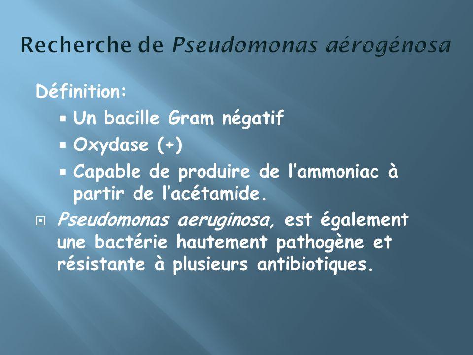 Définition: Un bacille Gram négatif Oxydase (+) Capable de produire de lammoniac à partir de lacétamide. Pseudomonas aeruginosa, est également une bac