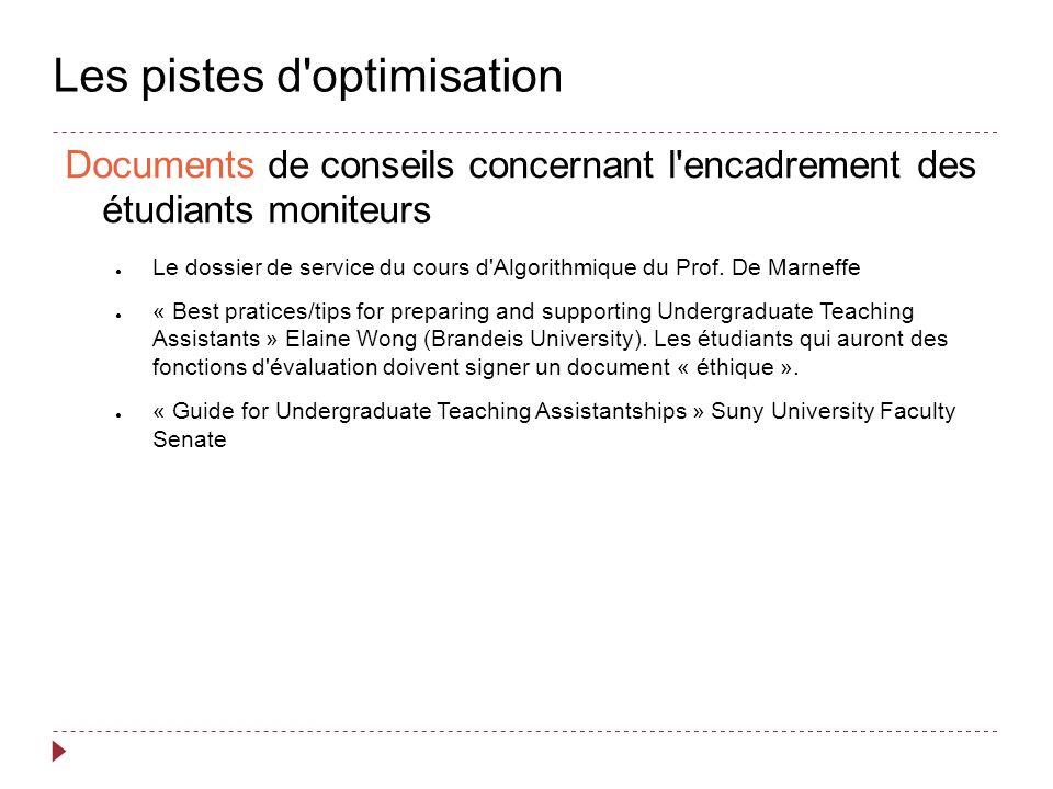 Les pistes d optimisation Documents de conseils concernant l encadrement des étudiants moniteurs Le dossier de service du cours d Algorithmique du Prof.