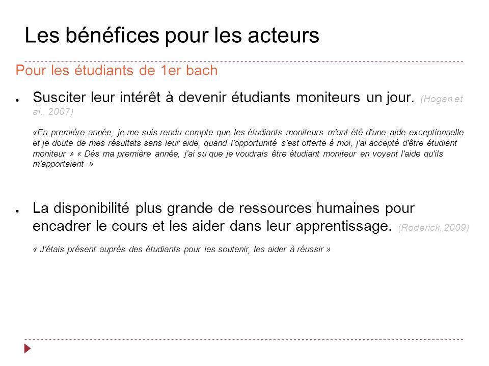 Les bénéfices pour les acteurs Pour les étudiants de 1er bach Susciter leur intérêt à devenir étudiants moniteurs un jour.