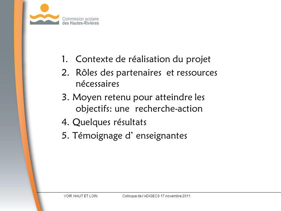 1.Contexte de réalisation du projet 2.Rôles des partenaires et ressources nécessaires 3.