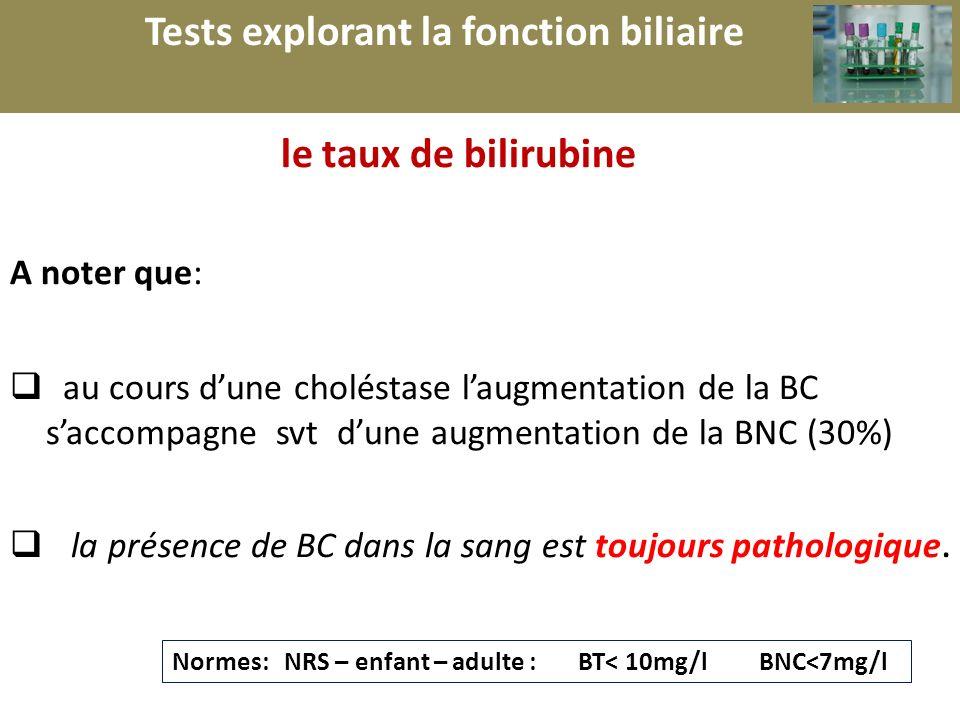 r le taux de bilirubine A noter que: au cours dune choléstase laugmentation de la BC saccompagne svt dune augmentation de la BNC (30%) la présence de