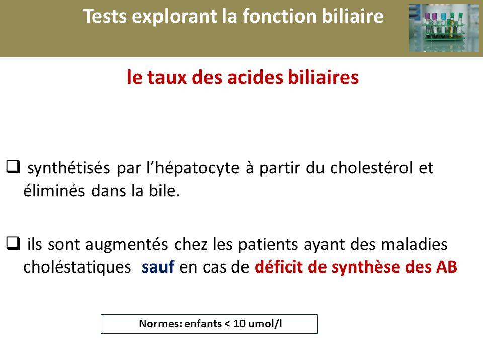r le taux des acides biliaires synthétisés par lhépatocyte à partir du cholestérol et éliminés dans la bile. ils sont augmentés chez les patients ayan