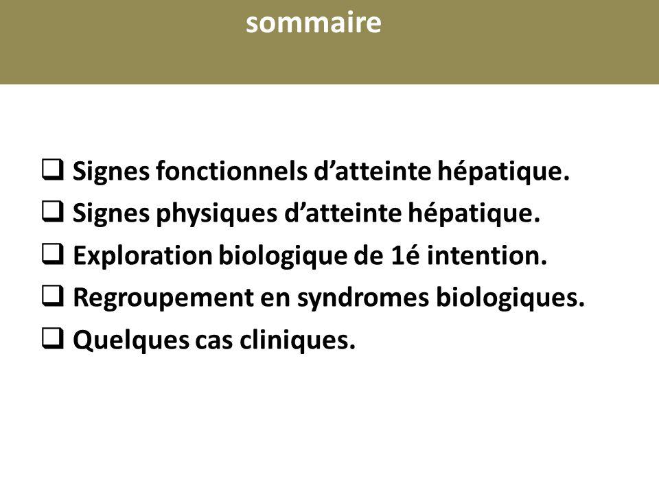 Cas clinique 3 Synthèse hépatique : Taux dalbumine : 52g/l TP 40% avec facteur V 35% Bilan de cytolyse : TGO: 72 U/L (légèrement élevées) TGP: 27 U/L Bilan de choléstase : Bilirubine conjuguée : 12 mg/l Gamma GT : 66U/L (2 fois la Nle pour lâge) Phosphate alcalines très augmentées 1437 U/L (3 fois la Nle pour lâge) NFS Hb : 8,3 g /dl (VGM : 86,3 fl, CCMH : 30,9 %) une thrombopénie : 62000/mm 3.