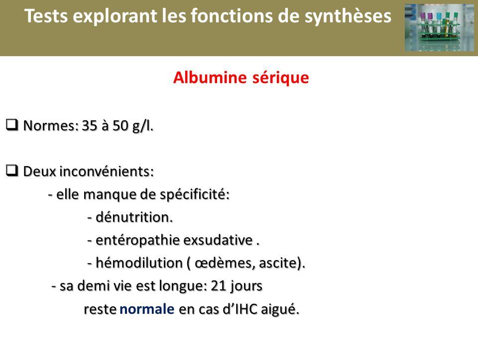 r Albumine sérique Normes: 35 à 50 g/l. Normes: 35 à 50 g/l. Deux inconvénients: Deux inconvénients: - elle manque de spécificité: - elle manque de sp