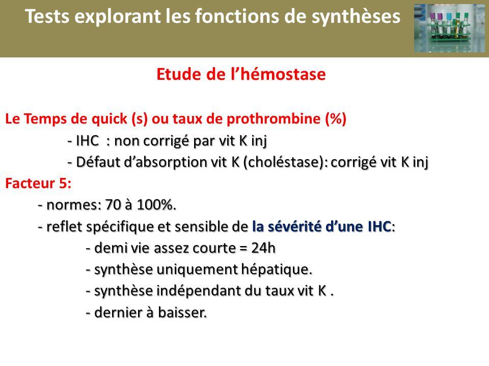 r Etude de lhémostase Le Temps de quick (s) ou taux de prothrombine (%) - IHC : non corrigé par vit K inj - IHC : non corrigé par vit K inj - Défaut d