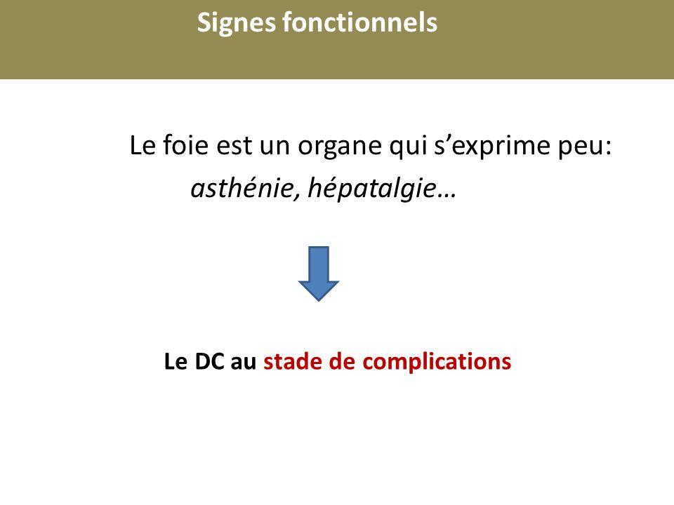 r Le foie est un organe qui sexprime peu: asthénie, hépatalgie… Signes fonctionnels Le DC au stade de complications Un autre signe fonctionnel doit faire penser à une maladie hépatique: ?