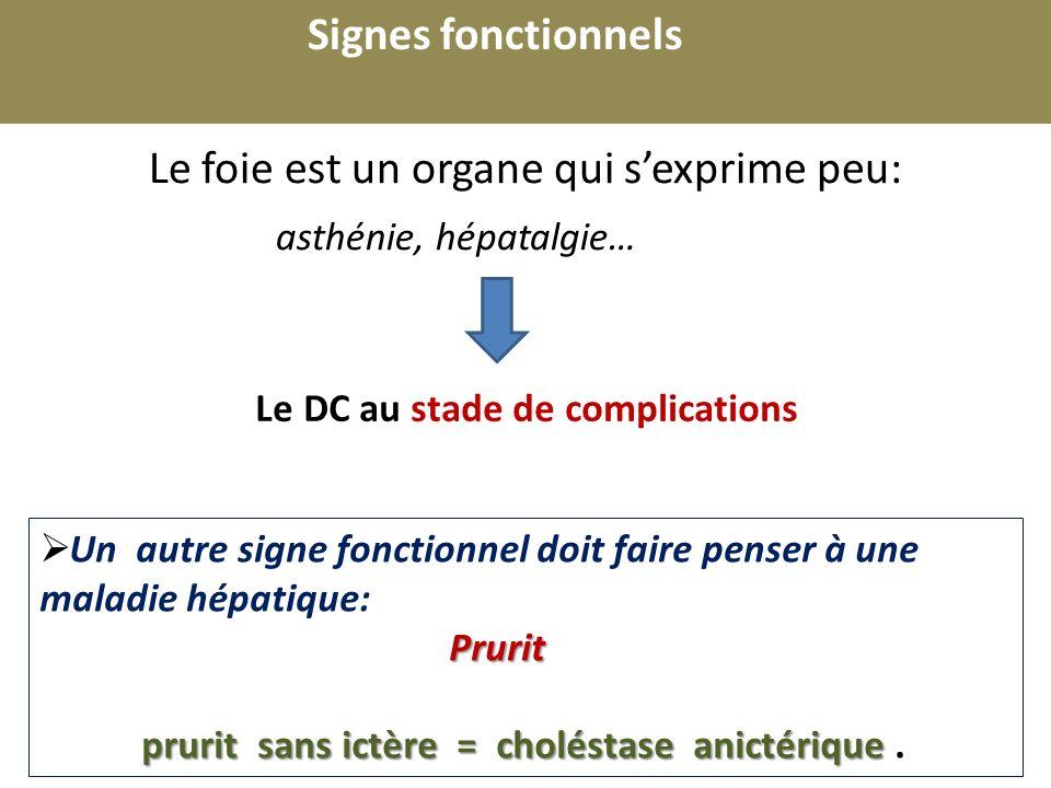 r Le foie est un organe qui sexprime peu: asthénie, hépatalgie… Signes fonctionnels Le DC au stade de complications Un autre signe fonctionnel doit fa