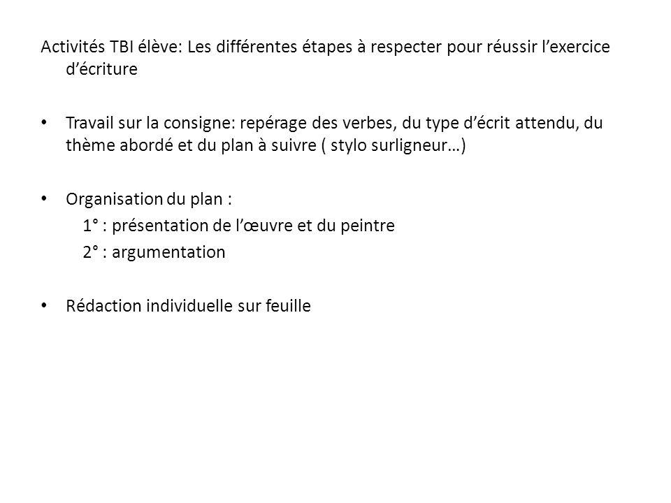 Activités TBI élève: Les différentes étapes à respecter pour réussir lexercice décriture Travail sur la consigne: repérage des verbes, du type décrit
