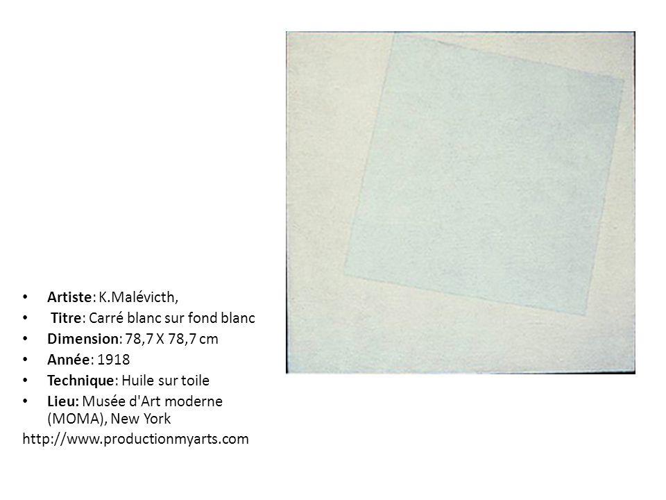 Artiste: K.Malévicth, Titre: Carré blanc sur fond blanc Dimension: 78,7 X 78,7 cm Année: 1918 Technique: Huile sur toile Lieu: Musée d'Art moderne (MO