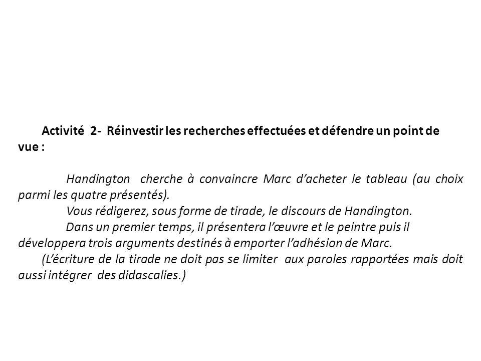 Activité 2- Réinvestir les recherches effectuées et défendre un point de vue : Handington cherche à convaincre Marc dacheter le tableau (au choix parm