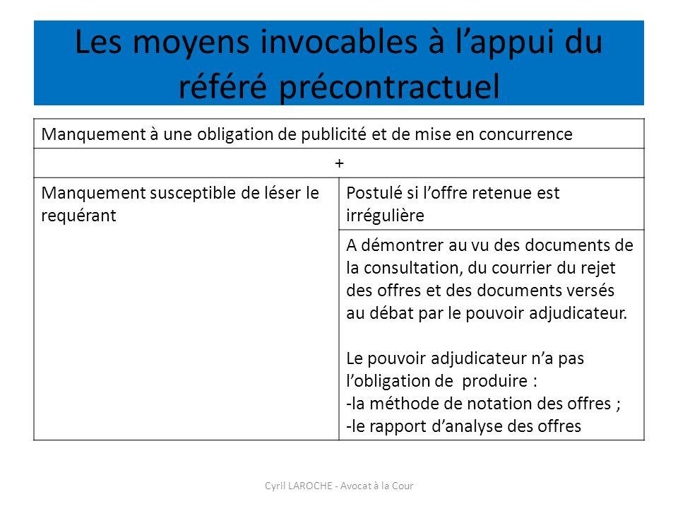 Les moyens invocables à lappui du référé précontractuel Cyril LAROCHE - Avocat à la Cour Manquement à une obligation de publicité et de mise en concur