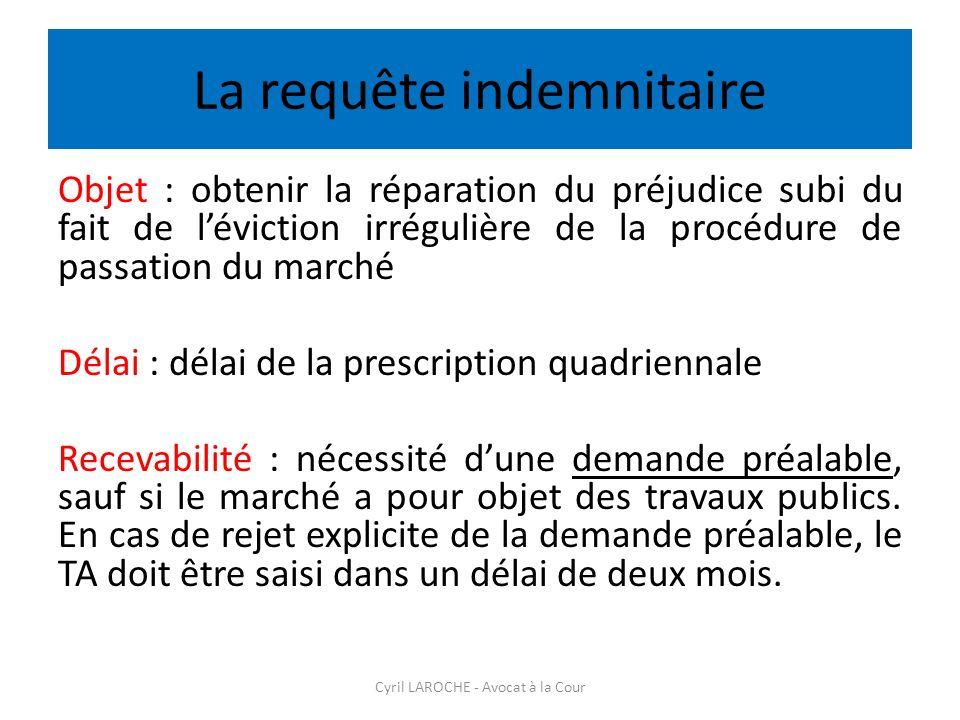 La requête indemnitaire Objet : obtenir la réparation du préjudice subi du fait de léviction irrégulière de la procédure de passation du marché Délai