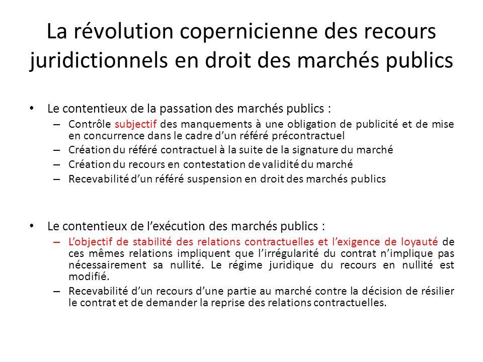 La révolution copernicienne des recours juridictionnels en droit des marchés publics Le contentieux de la passation des marchés publics : – Contrôle s