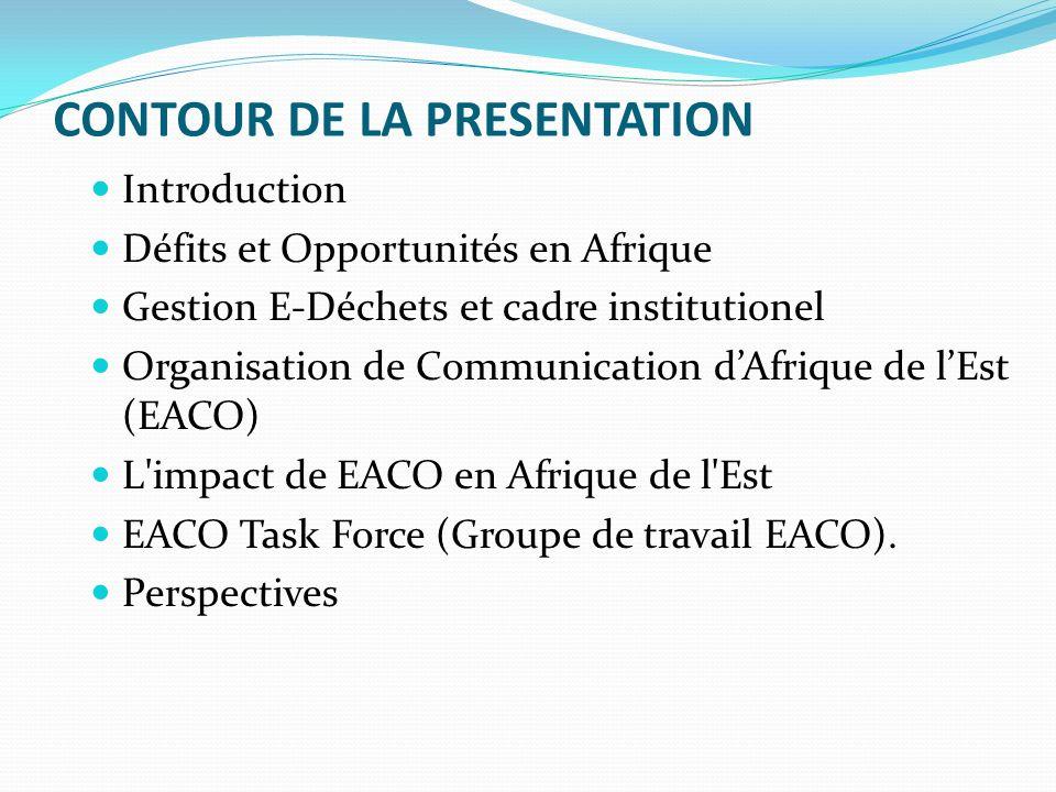 CONTOUR DE LA PRESENTATION Introduction Défits et Opportunités en Afrique Gestion E-Déchets et cadre institutionel Organisation de Communication dAfrique de lEst (EACO) L impact de EACO en Afrique de l Est EACO Task Force (Groupe de travail EACO).