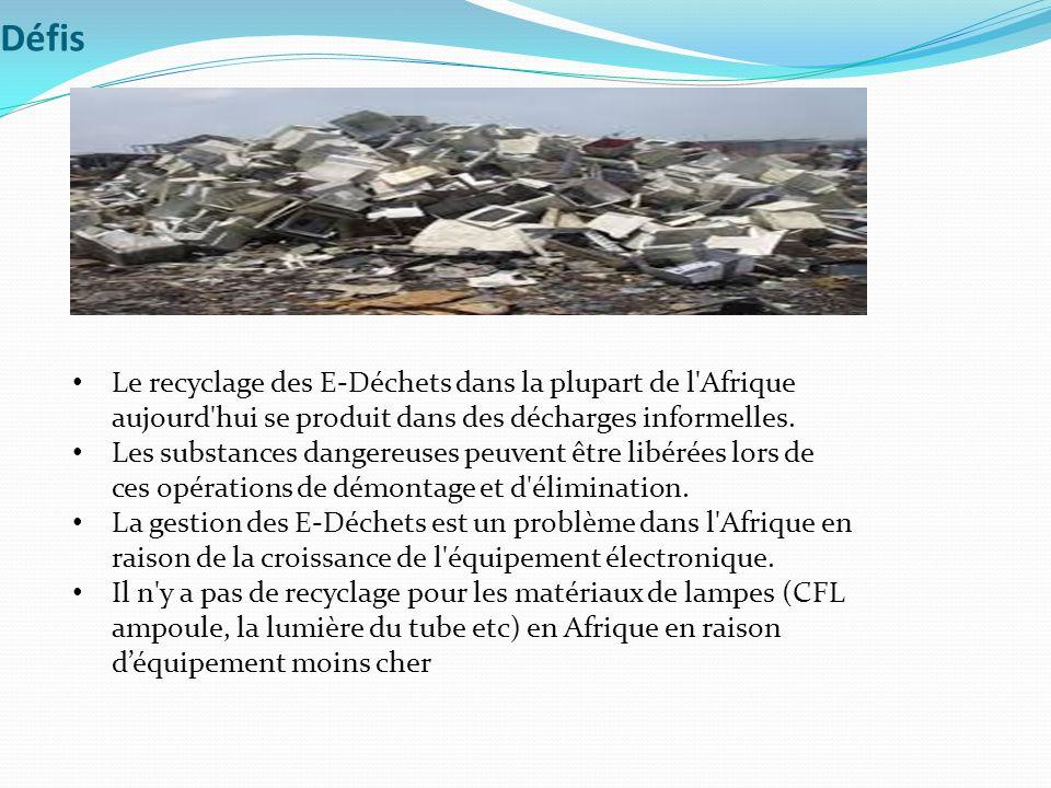 Défis Le recyclage des E-Déchets dans la plupart de l Afrique aujourd hui se produit dans des décharges informelles.