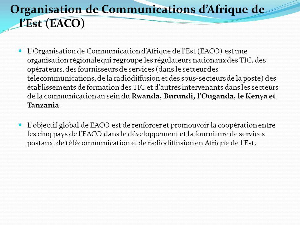 Organisation de Communications dAfrique de lEst (EACO) L Organisation de Communication dAfrique de l Est (EACO) est une organisation régionale qui regroupe les régulateurs nationaux des TIC, des opérateurs, des fournisseurs de services (dans le secteur des télécommunications, de la radiodiffusion et des sous-secteurs de la poste) des établissements de formation des TIC et d autres intervenants dans les secteurs de la communication au sein du Rwanda, Burundi, l Ouganda, le Kenya et Tanzania.