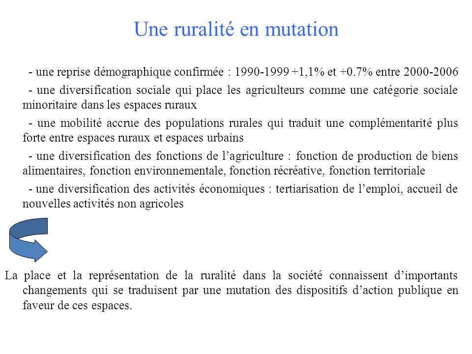 Une ruralité en mutation - une reprise démographique confirmée : 1990-1999 +1,1% et +0.7% entre 2000-2006 - une diversification sociale qui place les